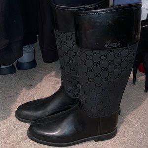Black Gucci rain boots
